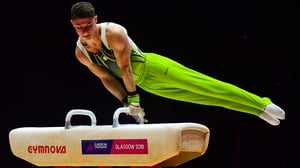The County Down man in action on the pommel horse