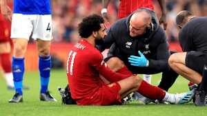 Mo Salah receiving treatment