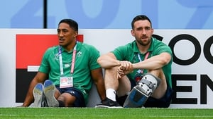 Jack Conan (R) and Bundee Aki pictured prior to Ireland's World Cup defeat to Japan