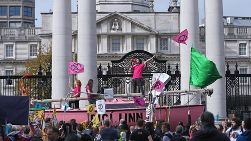 Protesters outside Government Buildings during an Extinction Rebellion demonstration in Dublin