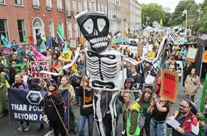 The demonstration made its way from Leinster House to Merrion Square, where a rally is being held. A camp has been set up by the activists in Merrion Square.