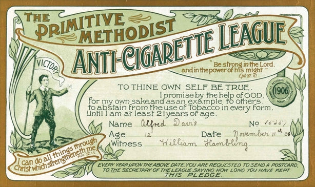 An Anti-Cigarette League certificate in which 12-year-old Alfred Davis pledges to abstain from smoking until he is at least 21 Photo: Wellcome Collection
