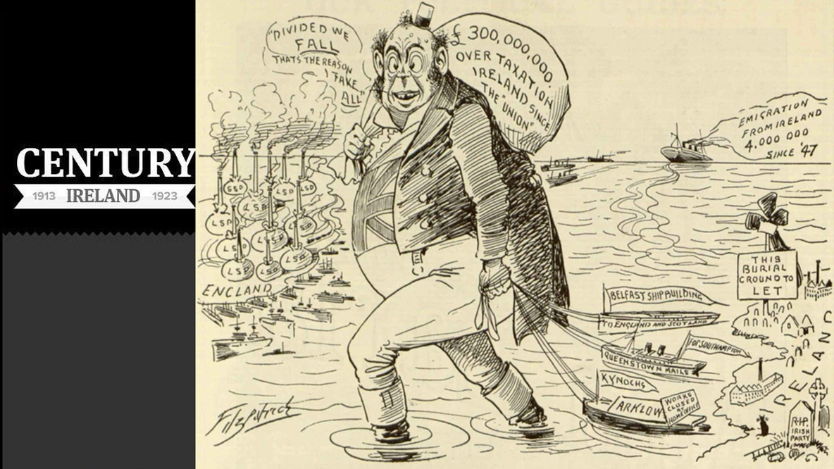 A cartoon from the satirical 'Lepracaun', July 1907, highlighting perceived economic injustices inflicted on Ireland by England Photo: DigitalLibrary@Villanova University