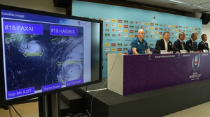 Rugby World Cup tournament chiefs demonstrate to the media, the potential impact of Typhoon Hagibis