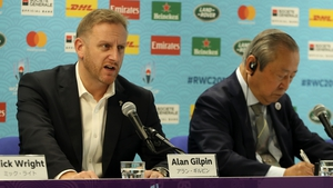 World Rugby's Alan Gilpin announcing the cancellation of two World Cup pool games this morning