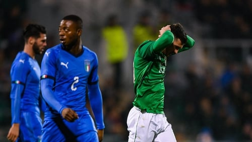 Troy Parrott was sent off midway through the second half of Ireland's draw with Italy