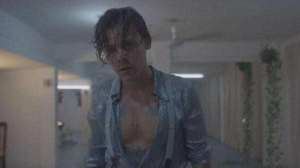 Harry Styles in his video for Lights Up