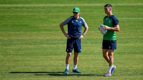 Ireland head coach Joe Schmidt (L) and Jonathan Sexton during the Captain's Run at Hakatanomori Stadium on Friday