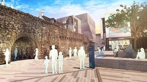 An artist's impression of proposed plaza outside Galway Museum (Pic: Haley Sharpe Design)