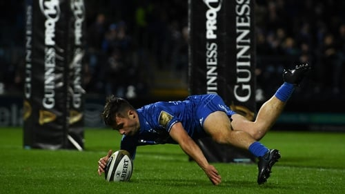 Rowan Osborne scores a try on his Leinster debut