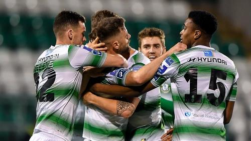 Rovers players celebrate Bolger's winner