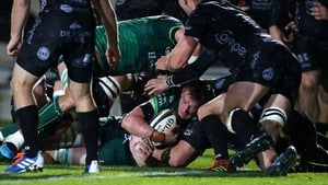 Connacht's Gavin Thornbury crosses the line at Rodney Parade