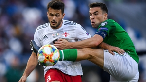 Seamus Coleman battles Valeri Qazaishvili for possession