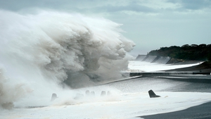 Surging waves generated by typhoon Hagibis hit the seashore in Mihama, Mie Prefecture, in Japan today