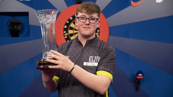 Teenager Barry will now compete in the William Hill World Darts Championship for the first time in December after claiming the top domestic honour.  Picture credit: Lawrence Lustig/PDC