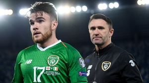 Aaron Connolly (L) is hoping to learn from Ireland assistant coach Robbie Keane