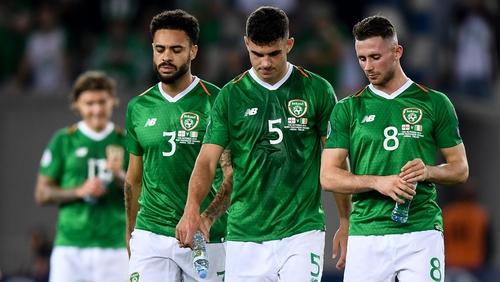 Republic of Ireland players, from left, Derrick Williams, John Egan and Alan Browne