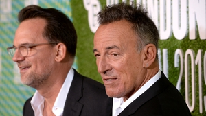 Director Thom Zimny and Bruce Springsteen at the premiere of Western Stars in London on Friday night