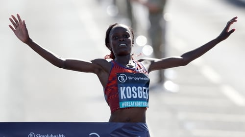 Kosgei broke Paula Radcliffe's 16-year-old marathon world record in October by winning the Chicago Marathon in a time of 2:14:04