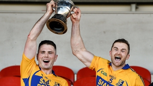 Noel Purcell and Seadna Morey celebrate Sixmilebridge's success with the Canon Hamilton Cup