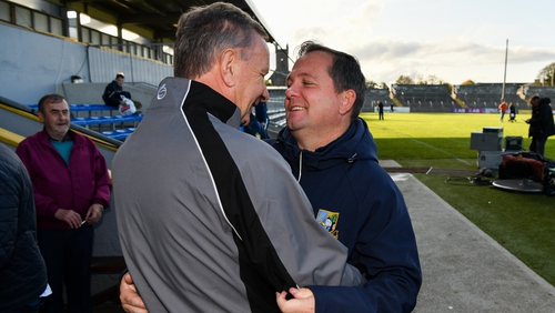Sixmilebridge manager Tim Crowe and coach Davy Fitzgerald embrace after guiding their club to glory in the Clare SHC
