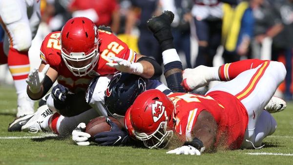 Houston Texans inside linebacker Benardrick McKinney (55) recovers a fumble by Kansas City Chiefs quarterback Patrick Mahomes