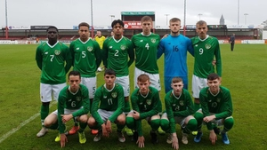 The Irish team that played Denmark, with Harvey Neville first on the left of the bottom row