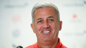 Switzerland manager Vladimir Petkovic speaking to the media in Geneva