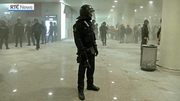 Web video: Spanish police charge protesters at Barcelona-El Prat airport