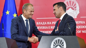European Council President Donald Tusk and North Macedonian Prime Minister Zoran Zaev at a press conference in Skopje last month