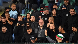 A section of Bulgarian supporters disturbed Monday's game against England