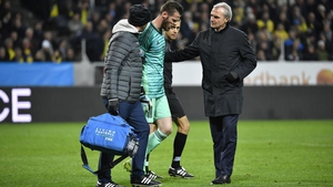 David de Gea (C) leaves the pitch in Stockholm