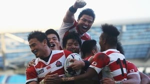 Japan celebrate their famous win against the Springboks at the 2015 Rugby World Cup
