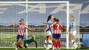 Charlyn Corral wheels away after equalising for Atletico Madrid at  the Academy Stadium in Manchester