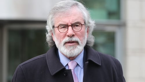 Gerry Adams leaving Belfast Crown Court after appearing as a witness in the Ivor Bell trial