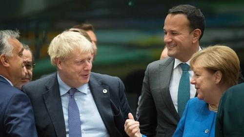 Boris Johnson, Leo Varadkar and Angela Merkel at the European Summit
