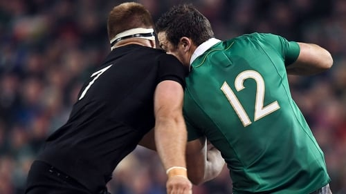 Robbie Henshaw (R) was laid out by a Sam Cane high challenge in 2016