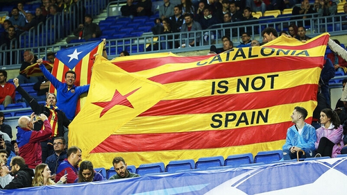 Barcelona fans often display pro-Catalan independence symbols at Camp Nou