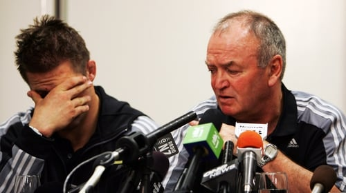 Richie McCaw and Graham Henry speaking to the homecoming following New Zealand's loss to France