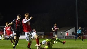 Gary Shaw of St Patrick's Athletic in action against James Talbot of Bohemians