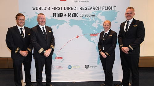 The flight crew chosen to fly from New York to Sydney