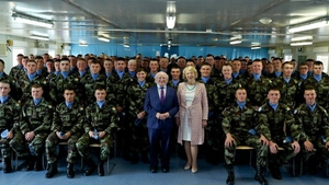 President Michael D Higgins met Irish troops serving in Lebanon