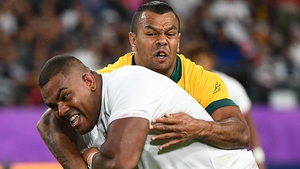Australia's Kurtley Beale can't stop Kyle Sinckler scoring England's third try