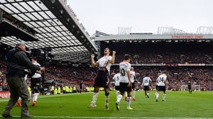 Liverpool celebrate their last victory at Old Trafford, in 2014