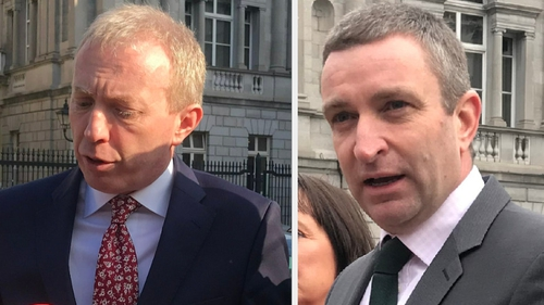 Niall Collins (R) voted six times for Timmy Dooley (L), who had left the Dáil chamber