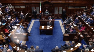 A vote being cast in the Dáil chamber