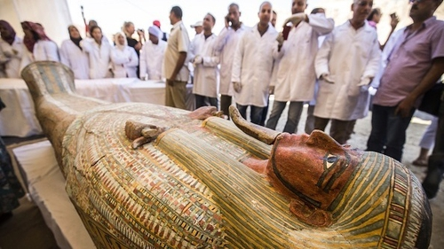 The wooden coffins were found in the city of Luxor