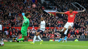 Marcus Rashford opened the scoring at Old Trafford against Liverpool