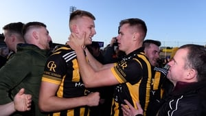 Brothers Rian and Oisin O'Neill celebrate after Crossmaglen came from behind to win yet another Armagh SFC title