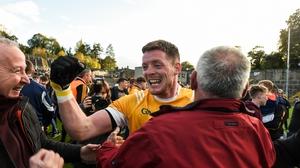 Conor McManus celebrates after Clontibret dispatched Scotstown